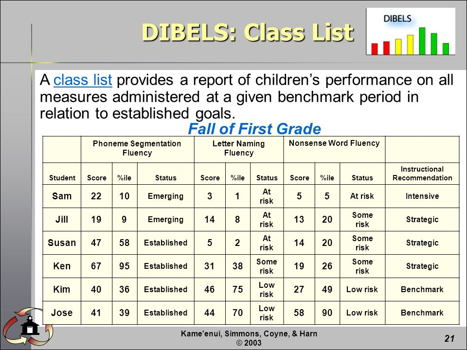Kame enui, Simmons, Coyne, & Harn © A class list provides a report of children's performance on all measures administered at a given benchmark period in relation to established goals.