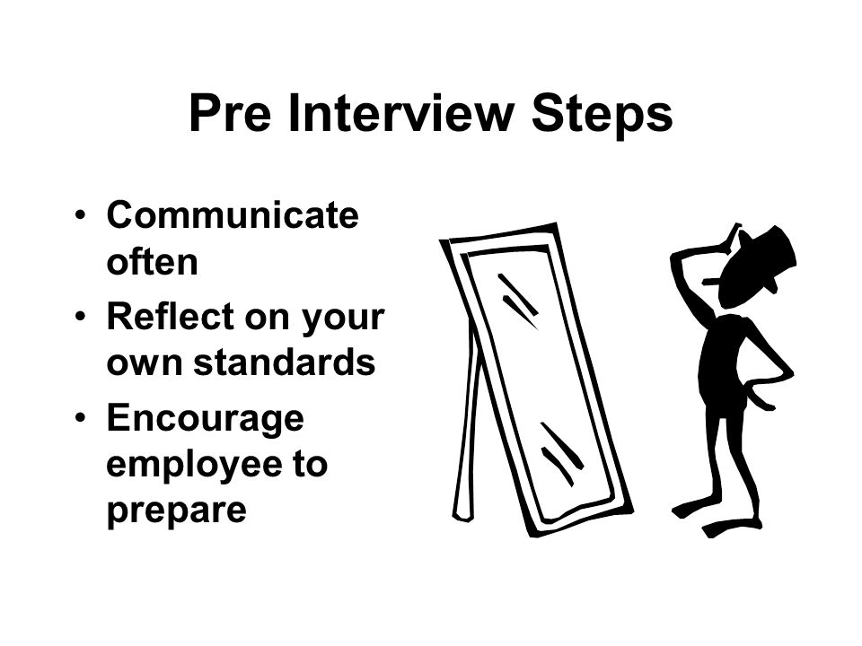 Pre Interview Steps Communicate often Reflect on your own standards Encourage employee to prepare
