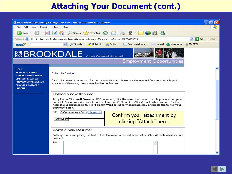 Confirm your attachment by clicking Attach here. Attaching Your Document (cont.)