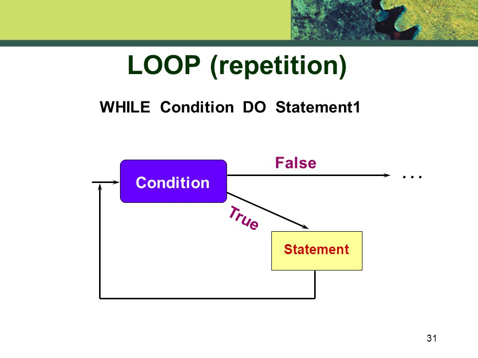31 LOOP (repetition) Statement... False True WHILE Condition DO Statement1 Condition