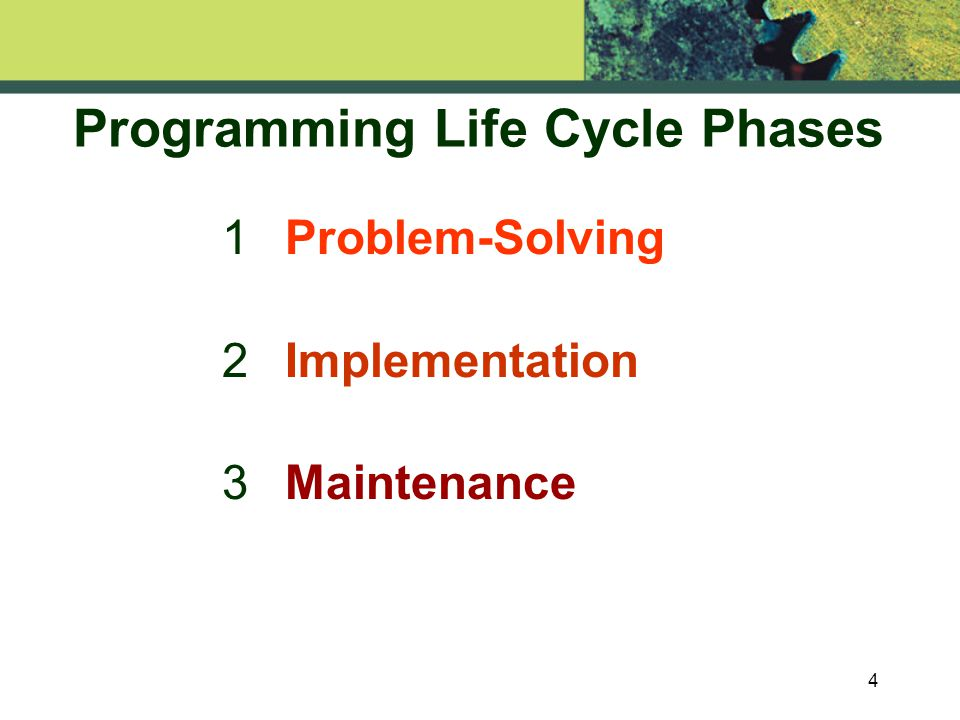 4 Programming Life Cycle Phases 1 Problem-Solving 2 Implementation 3 Maintenance