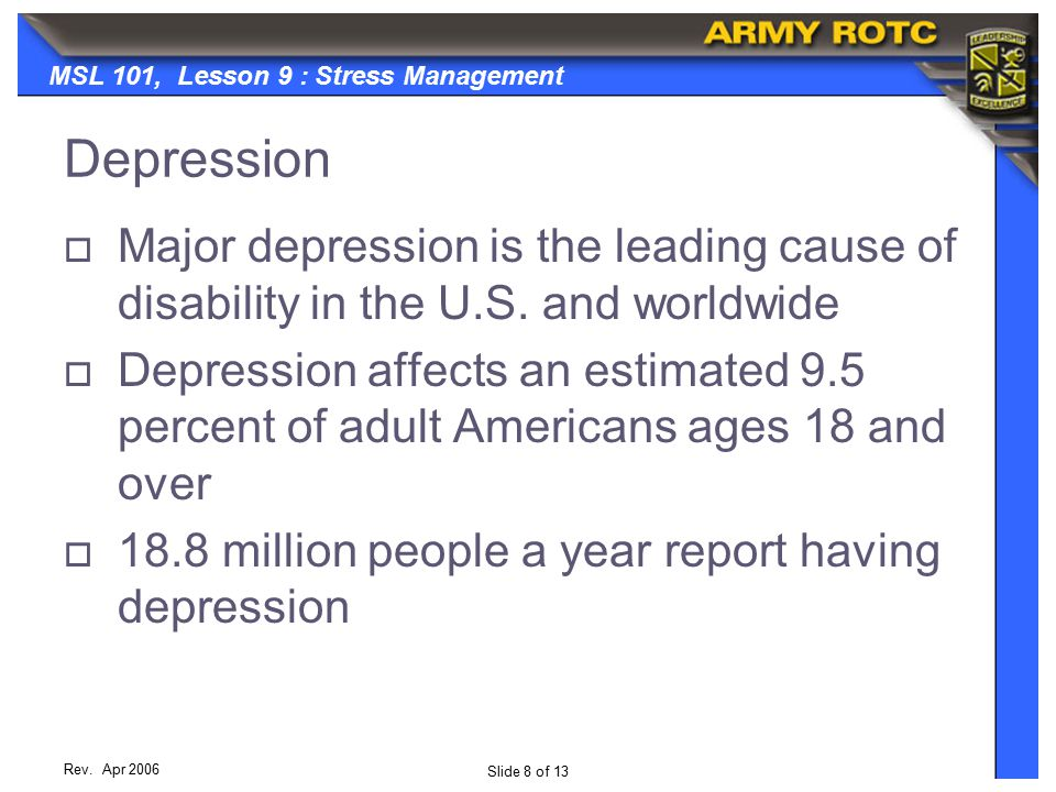 Slide 8 of 13 MSL 101, Lesson 9 : Stress Management Rev.