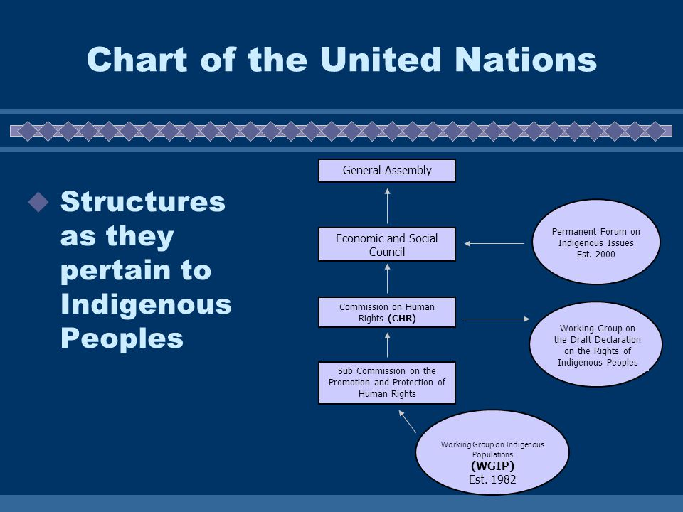 Chart of the United Nations  Structures as they pertain to Indigenous Peoples General Assembly Economic and Social Council Commission on Human Rights (CHR) Sub Commission on the Promotion and Protection of Human Rights Permanent Forum on Indigenous Issues Est.