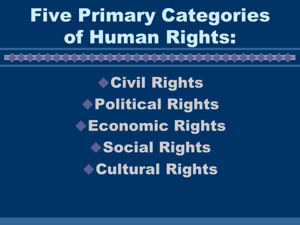 Five Primary Categories of Human Rights:  Civil Rights  Political Rights  Economic Rights  Social Rights  Cultural Rights