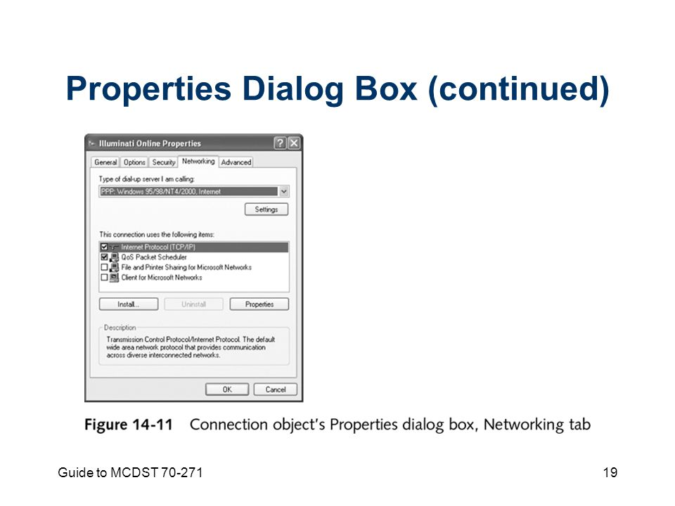 Guide to MCDST Properties Dialog Box (continued)