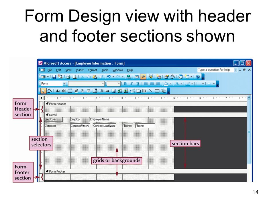 14 Form Design view with header and footer sections shown