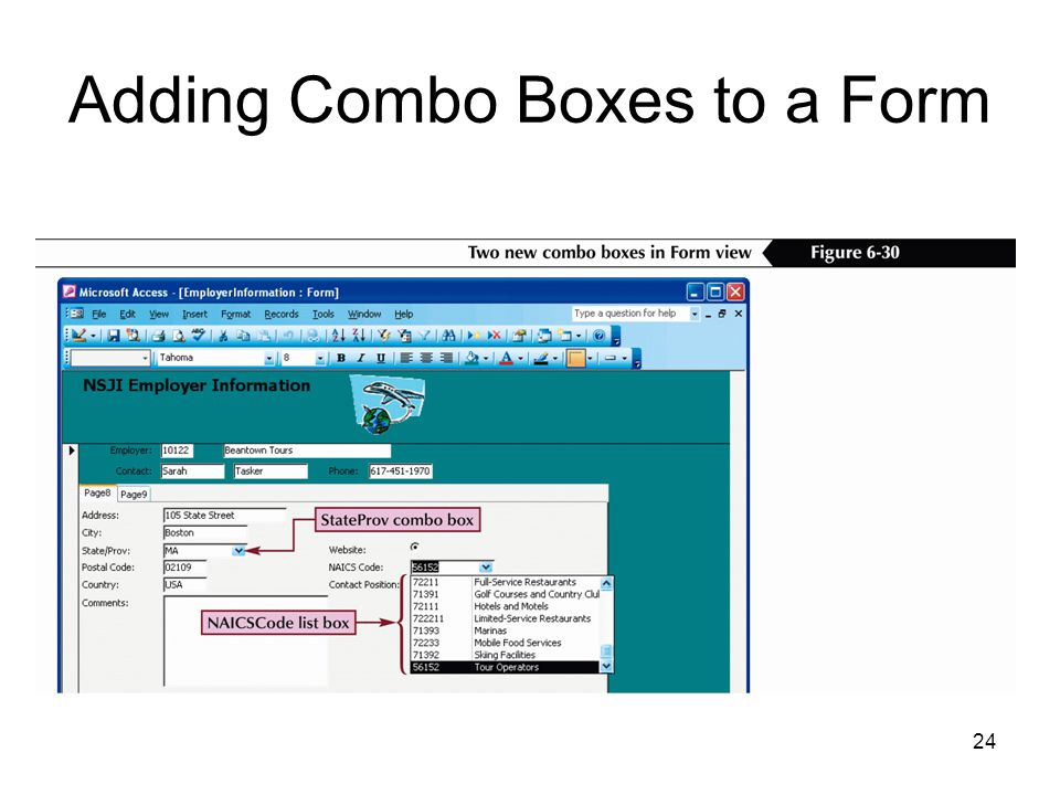 24 Adding Combo Boxes to a Form