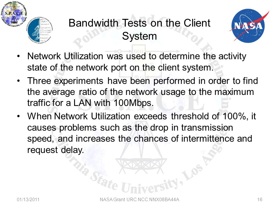 Bandwidth Tests on the Client System Network Utilization was used to determine the activity state of the network port on the client system.