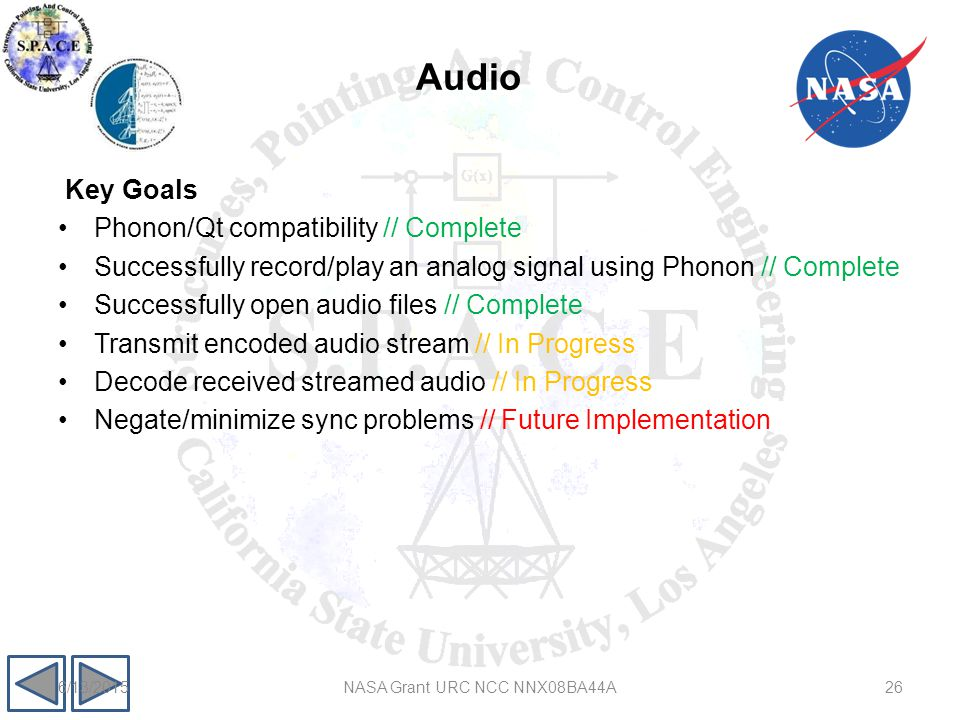 Audio Key Goals Phonon/Qt compatibility // Complete Successfully record/play an analog signal using Phonon // Complete Successfully open audio files // Complete Transmit encoded audio stream // In Progress Decode received streamed audio // In Progress Negate/minimize sync problems // Future Implementation 266/13/2015NASA Grant URC NCC NNX08BA44A