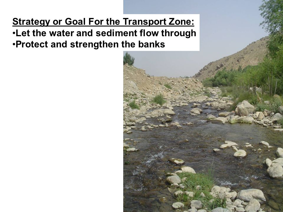 Strategy or Goal For the Transport Zone: Let the water and sediment flow through Protect and strengthen the banks