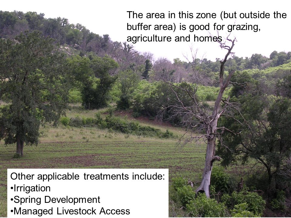 The area in this zone (but outside the buffer area) is good for grazing, agriculture and homes Other applicable treatments include: Irrigation Spring Development Managed Livestock Access
