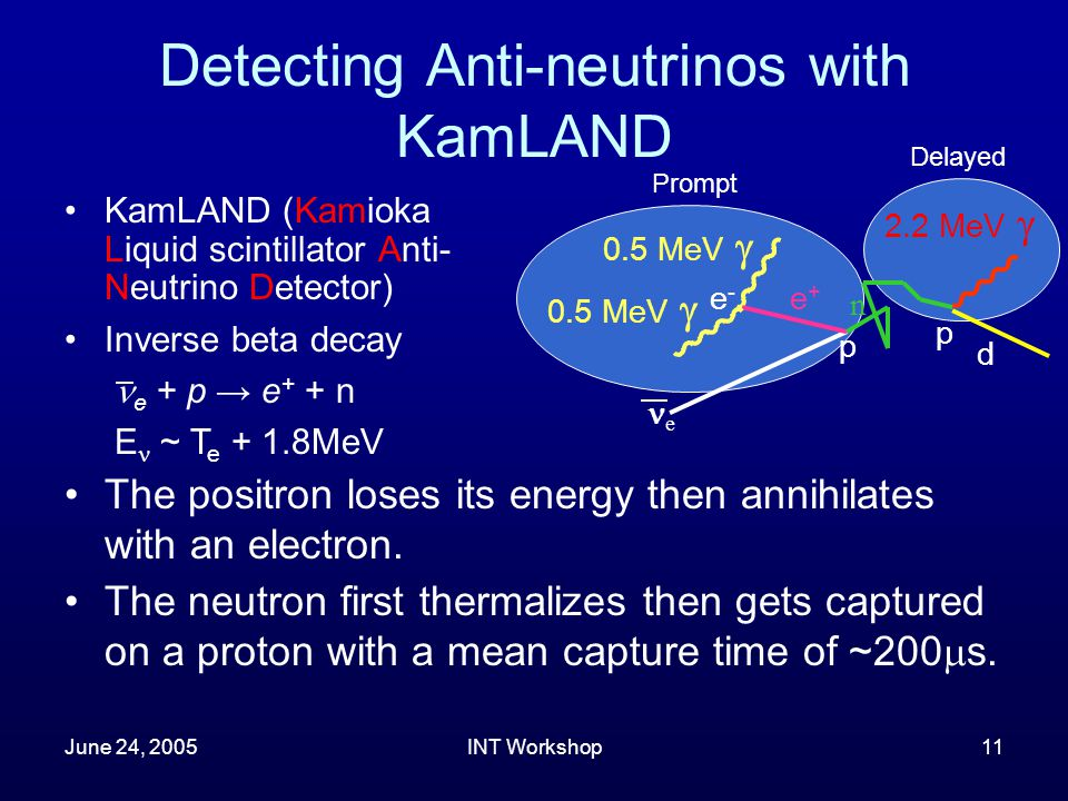 June 24, 2005INT Workshop11 Detecting Anti-neutrinos with KamLAND KamLAND (Kamioka Liquid scintillator Anti- Neutrino Detector) d p e+e+ 0.5 MeV  2.2 MeV  n p 0.5 MeV  e e-e- Inverse beta decay e + p → e + + n E ~ T e + 1.8MeV The positron loses its energy then annihilates with an electron.