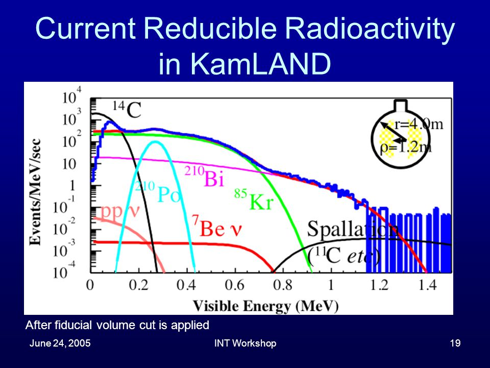 June 24, 2005INT Workshop19 Current Reducible Radioactivity in KamLAND After fiducial volume cut is applied