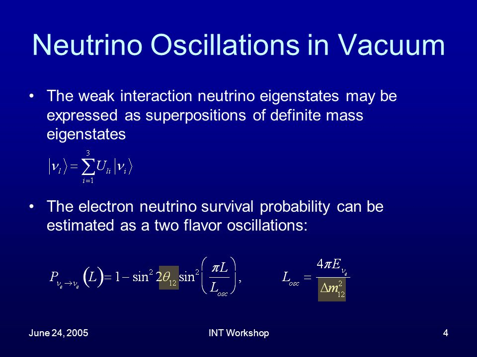 June 24, 2005INT Workshop4 Neutrino Oscillations in Vacuum The weak interaction neutrino eigenstates may be expressed as superpositions of definite mass eigenstates The electron neutrino survival probability can be estimated as a two flavor oscillations: