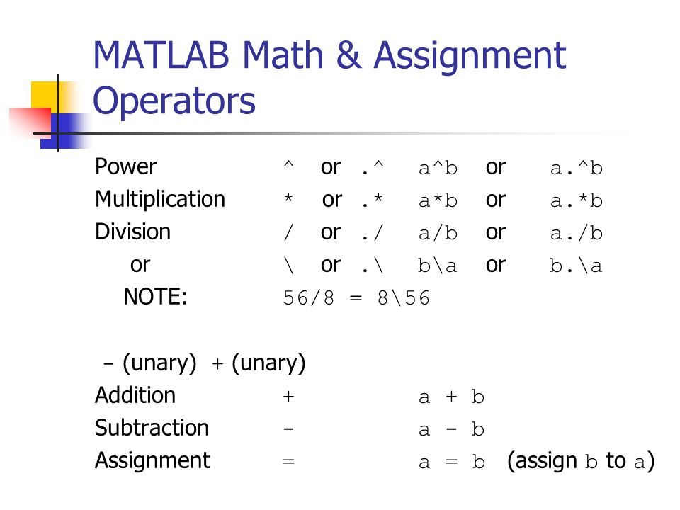 MATLAB Math & Assignment Operators Power ^ or.^a^b or a.^b Multiplication * or.*a*b or a.*b Division / or./a/b or a./b or \ or.\b\a or b.\a NOTE: 56/8 = 8\56 - (unary) + (unary) Addition + a + b Subtraction - a - b Assignment =a = b (assign b to a )