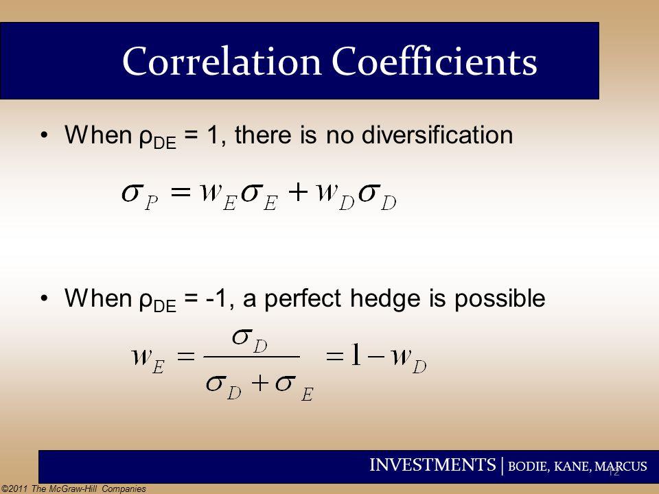 INVESTMENTS | BODIE, KANE, MARCUS ©2011 The McGraw-Hill Companies Correlation Coefficients When ρ DE = 1, there is no diversification When ρ DE = -1, a perfect hedge is possible 12