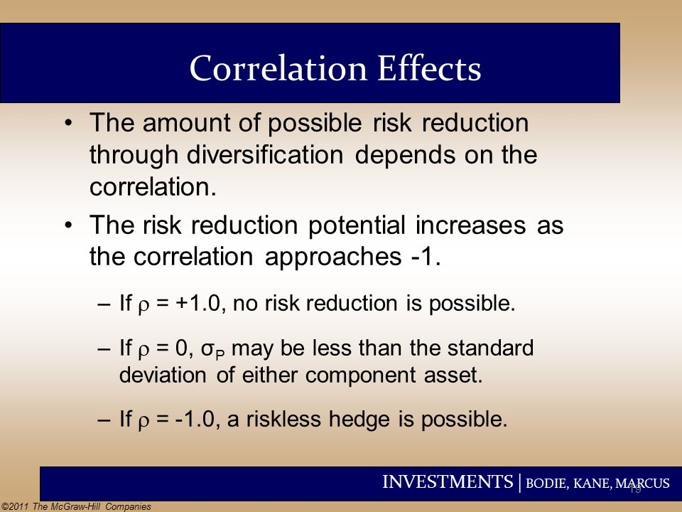 INVESTMENTS | BODIE, KANE, MARCUS ©2011 The McGraw-Hill Companies The amount of possible risk reduction through diversification depends on the correlation.
