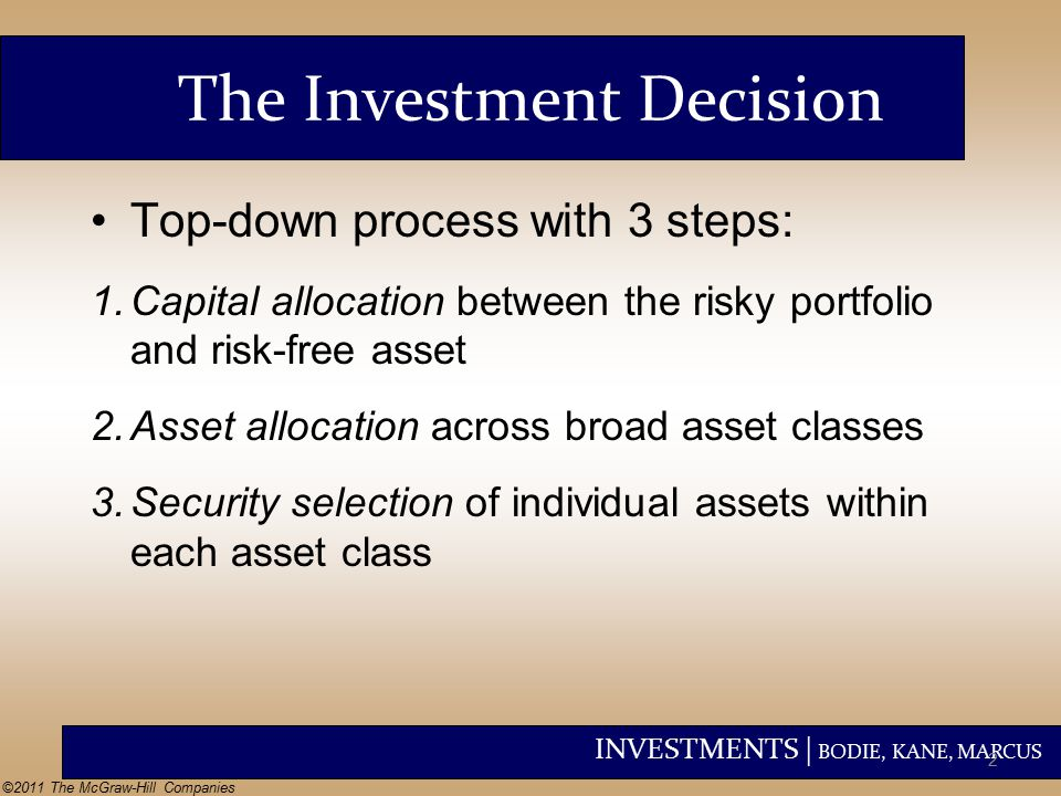 INVESTMENTS | BODIE, KANE, MARCUS ©2011 The McGraw-Hill Companies The Investment Decision Top-down process with 3 steps: 1.Capital allocation between the risky portfolio and risk-free asset 2.Asset allocation across broad asset classes 3.Security selection of individual assets within each asset class 2