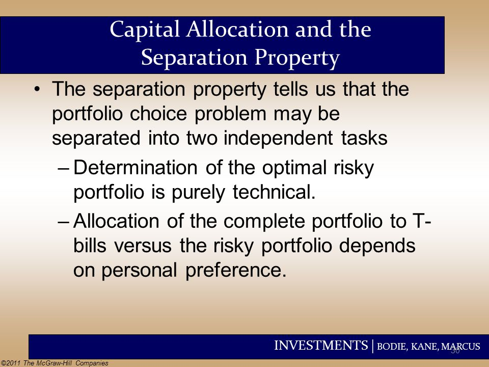 INVESTMENTS | BODIE, KANE, MARCUS ©2011 The McGraw-Hill Companies Capital Allocation and the Separation Property The separation property tells us that the portfolio choice problem may be separated into two independent tasks –Determination of the optimal risky portfolio is purely technical.