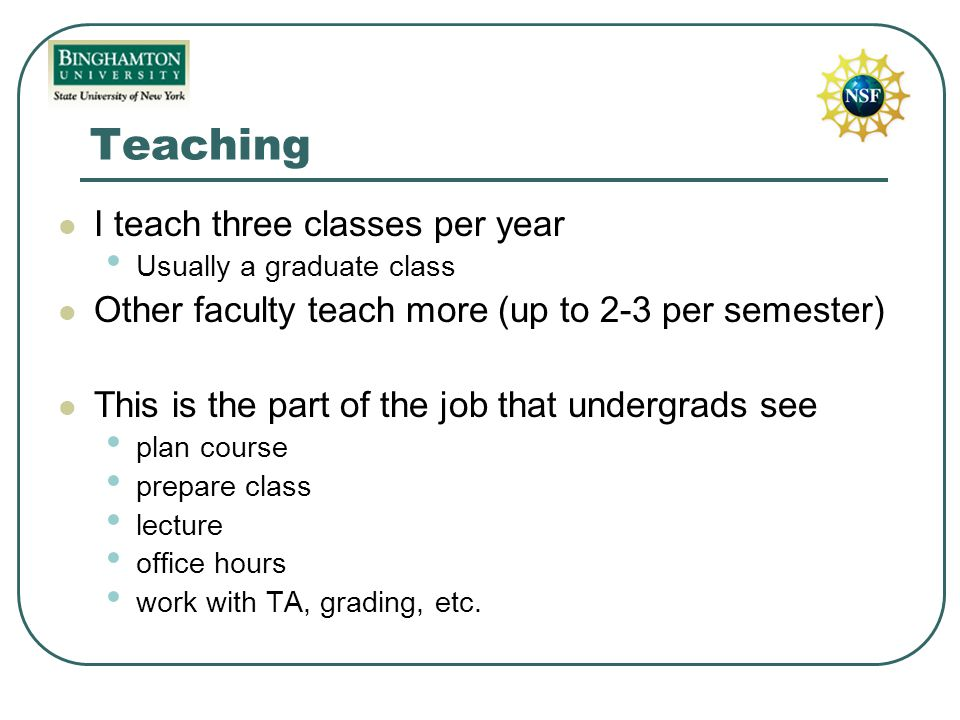 Teaching I teach three classes per year Usually a graduate class Other faculty teach more (up to 2-3 per semester) This is the part of the job that undergrads see plan course prepare class lecture office hours work with TA, grading, etc.