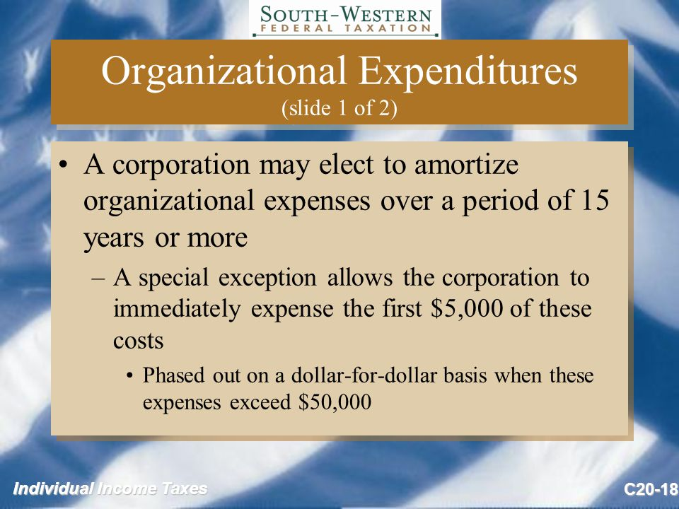 Individual Income Taxes C20-18 Organizational Expenditures (slide 1 of 2) A corporation may elect to amortize organizational expenses over a period of 15 years or more –A special exception allows the corporation to immediately expense the first $5,000 of these costs Phased out on a dollar-for-dollar basis when these expenses exceed $50,000 A corporation may elect to amortize organizational expenses over a period of 15 years or more –A special exception allows the corporation to immediately expense the first $5,000 of these costs Phased out on a dollar-for-dollar basis when these expenses exceed $50,000