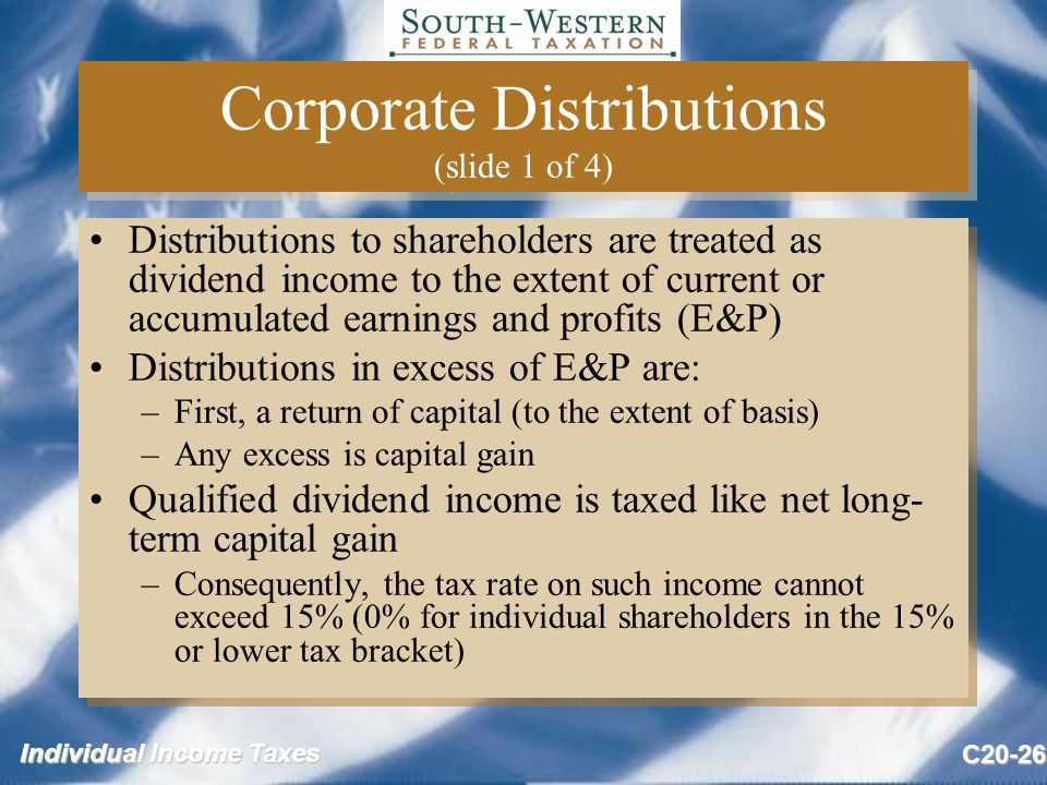 Individual Income Taxes C20-26 Corporate Distributions (slide 1 of 4) Distributions to shareholders are treated as dividend income to the extent of current or accumulated earnings and profits (E&P) Distributions in excess of E&P are: –First, a return of capital (to the extent of basis) –Any excess is capital gain Qualified dividend income is taxed like net long- term capital gain –Consequently, the tax rate on such income cannot exceed 15% (0% for individual shareholders in the 15% or lower tax bracket) Distributions to shareholders are treated as dividend income to the extent of current or accumulated earnings and profits (E&P) Distributions in excess of E&P are: –First, a return of capital (to the extent of basis) –Any excess is capital gain Qualified dividend income is taxed like net long- term capital gain –Consequently, the tax rate on such income cannot exceed 15% (0% for individual shareholders in the 15% or lower tax bracket)
