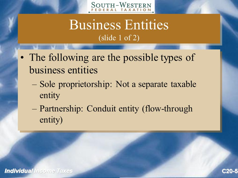 Individual Income Taxes C20-5 Business Entities (slide 1 of 2) The following are the possible types of business entities –Sole proprietorship: Not a separate taxable entity –Partnership: Conduit entity (flow-through entity) The following are the possible types of business entities –Sole proprietorship: Not a separate taxable entity –Partnership: Conduit entity (flow-through entity)