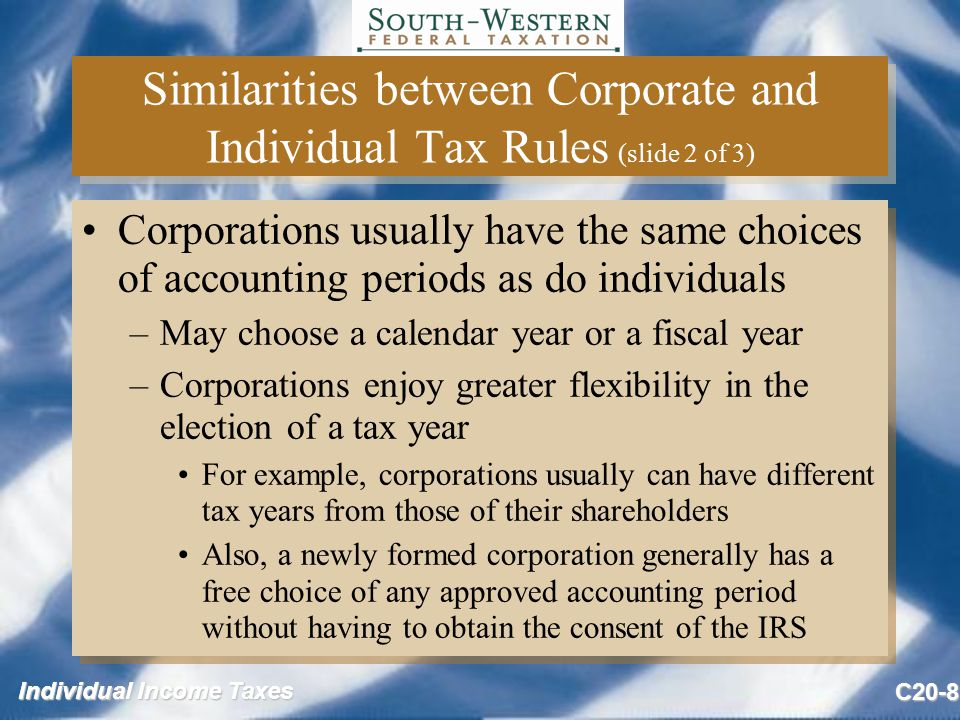 Individual Income Taxes C20-8 Similarities between Corporate and Individual Tax Rules (slide 2 of 3) Corporations usually have the same choices of accounting periods as do individuals –May choose a calendar year or a fiscal year –Corporations enjoy greater flexibility in the election of a tax year For example, corporations usually can have different tax years from those of their shareholders Also, a newly formed corporation generally has a free choice of any approved accounting period without having to obtain the consent of the IRS Corporations usually have the same choices of accounting periods as do individuals –May choose a calendar year or a fiscal year –Corporations enjoy greater flexibility in the election of a tax year For example, corporations usually can have different tax years from those of their shareholders Also, a newly formed corporation generally has a free choice of any approved accounting period without having to obtain the consent of the IRS