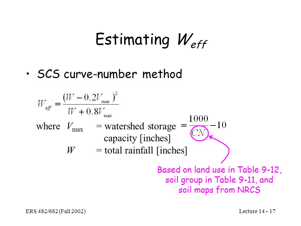 Lecture ERS 482/682 (Fall 2002) Estimating W eff SCS curve-number method whereV max = watershed storage capacity [inches] W= total rainfall [inches] Based on land use in Table 9-12, soil group in Table 9-11, and soil maps from NRCS