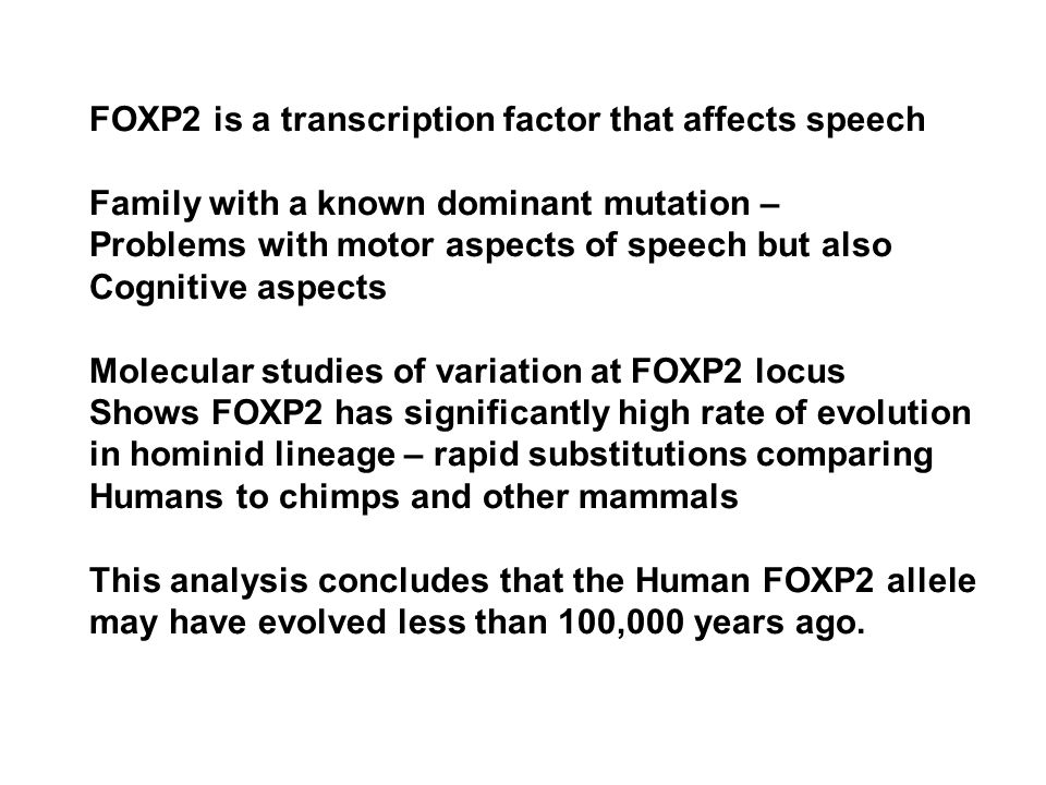 FOXP2 is a transcription factor that affects speech Family with a known dominant mutation – Problems with motor aspects of speech but also Cognitive aspects Molecular studies of variation at FOXP2 locus Shows FOXP2 has significantly high rate of evolution in hominid lineage – rapid substitutions comparing Humans to chimps and other mammals This analysis concludes that the Human FOXP2 allele may have evolved less than 100,000 years ago.