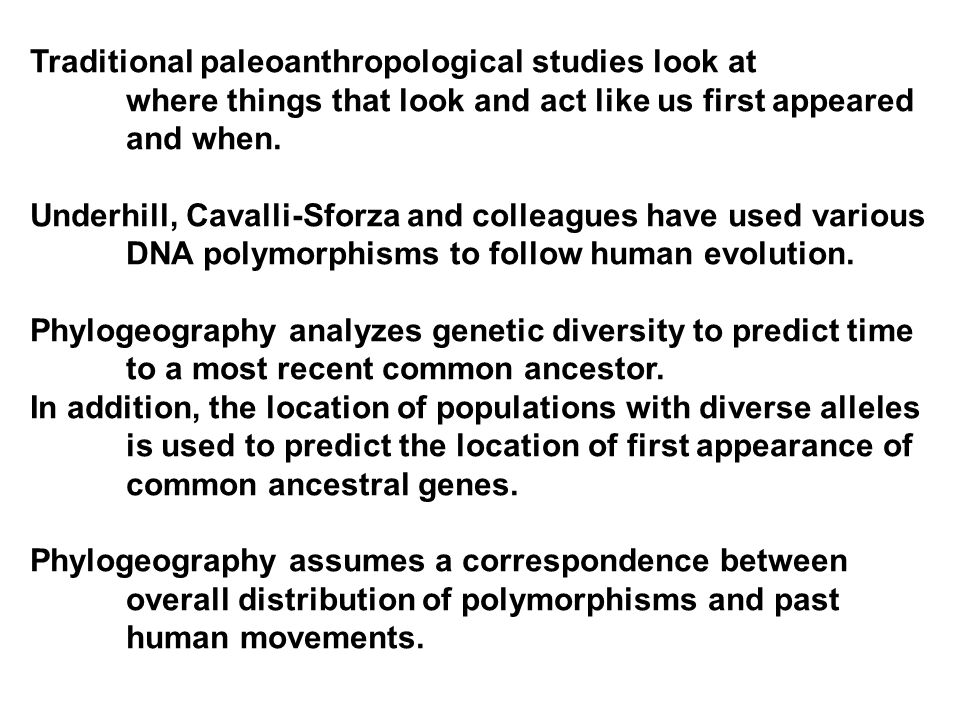 Traditional paleoanthropological studies look at where things that look and act like us first appeared and when.