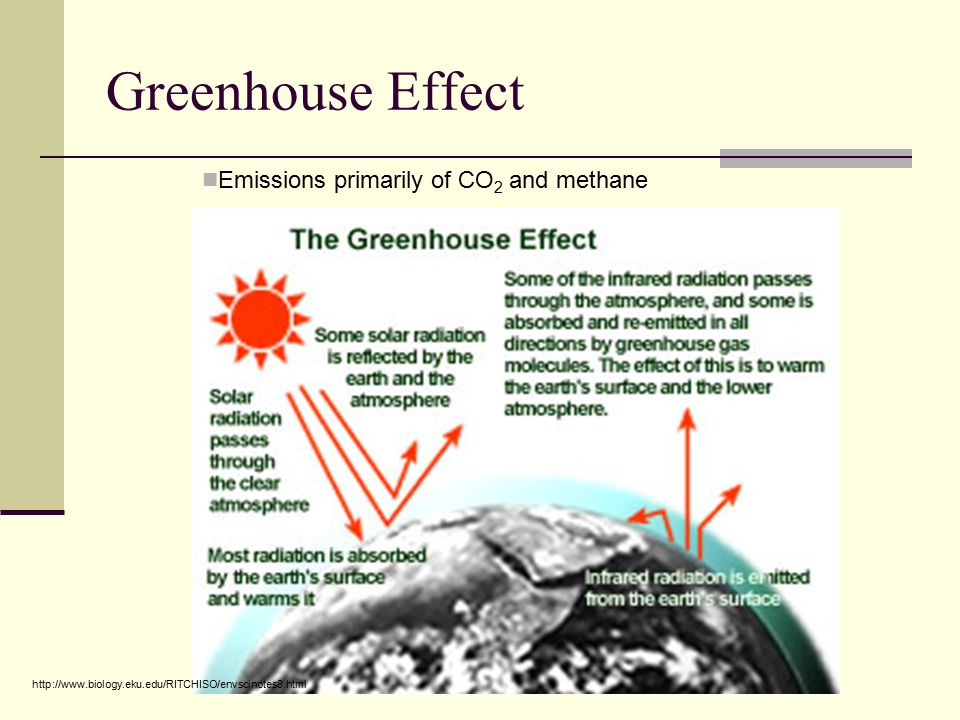 Greenhouse Effect Emissions primarily of CO 2 and methane