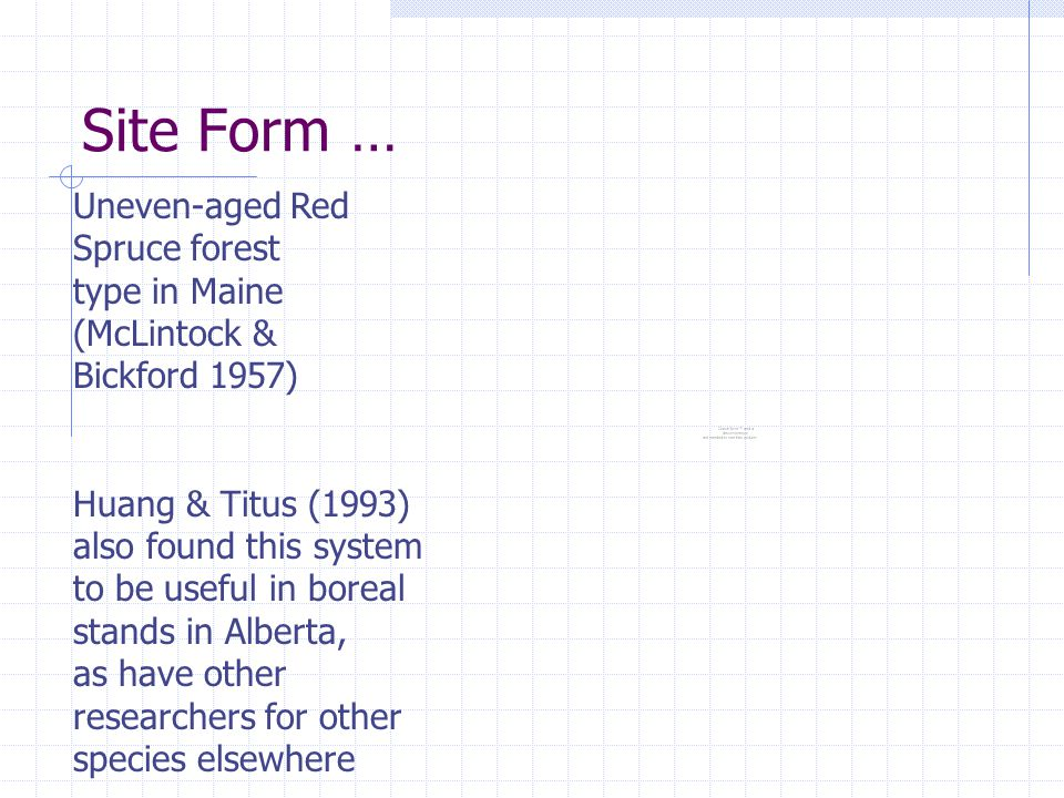 Site Form … Uneven-aged Red Spruce forest type in Maine (McLintock & Bickford 1957) Huang & Titus (1993) also found this system to be useful in boreal stands in Alberta, as have other researchers for other species elsewhere