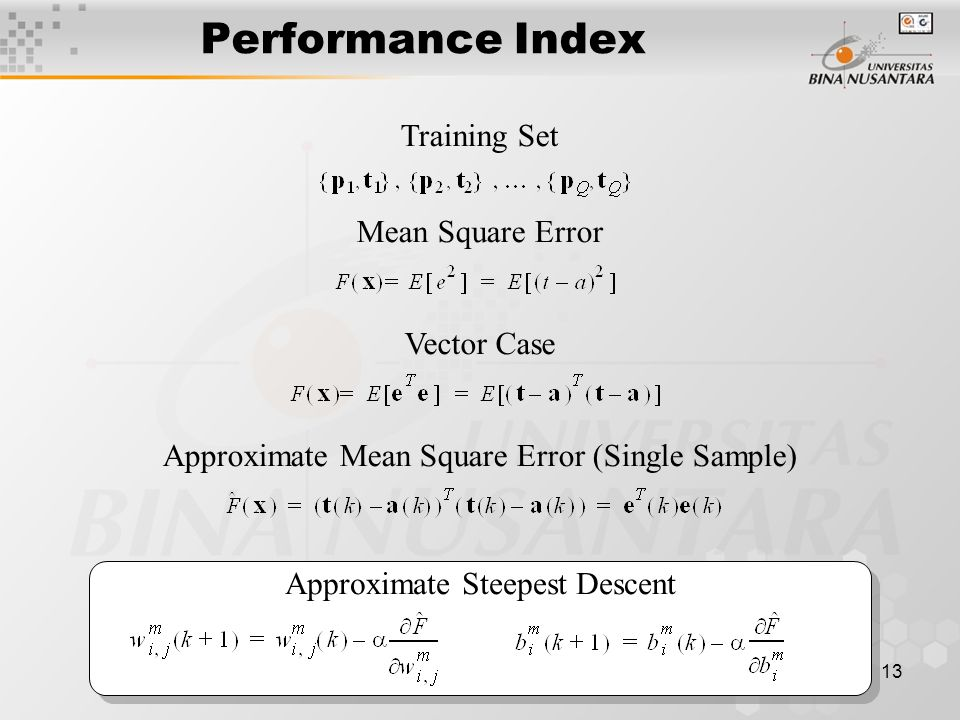 13 Performance Index Training Set Mean Square Error Vector Case Approximate Mean Square Error (Single Sample) Approximate Steepest Descent