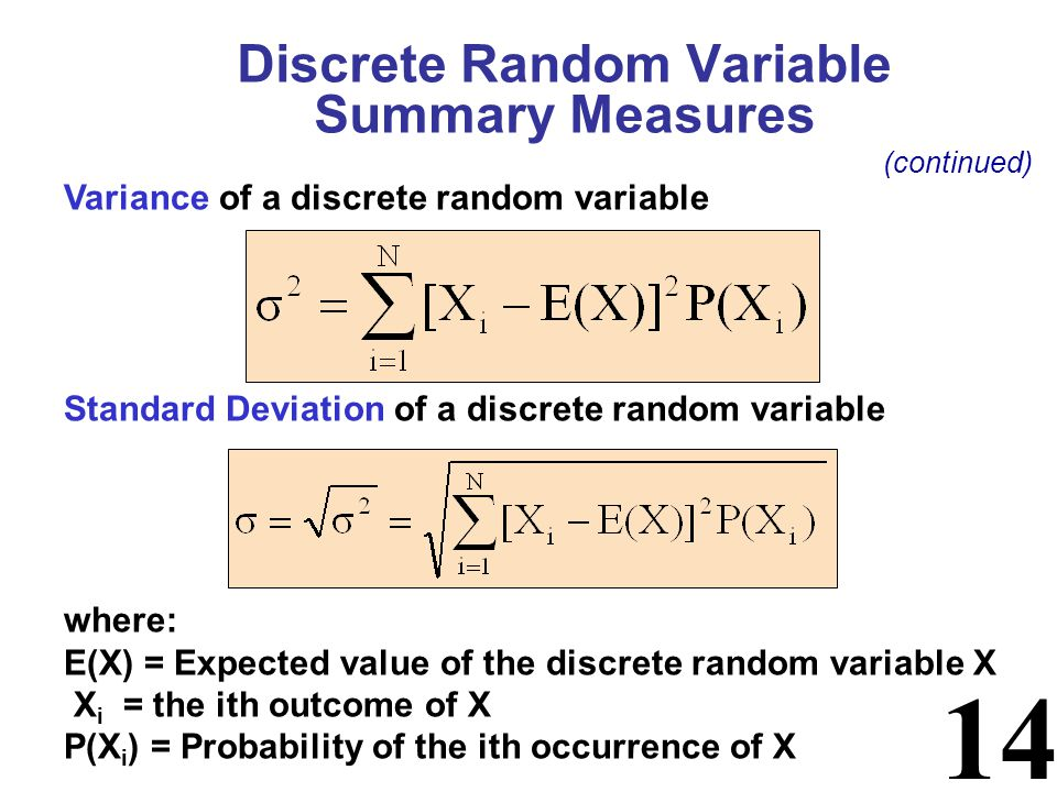 14 Variance of a discrete random variable Standard Deviation of a discrete random variable where: E(X) = Expected value of the discrete random variable X X i = the ith outcome of X P(X i ) = Probability of the ith occurrence of X Discrete Random Variable Summary Measures (continued)