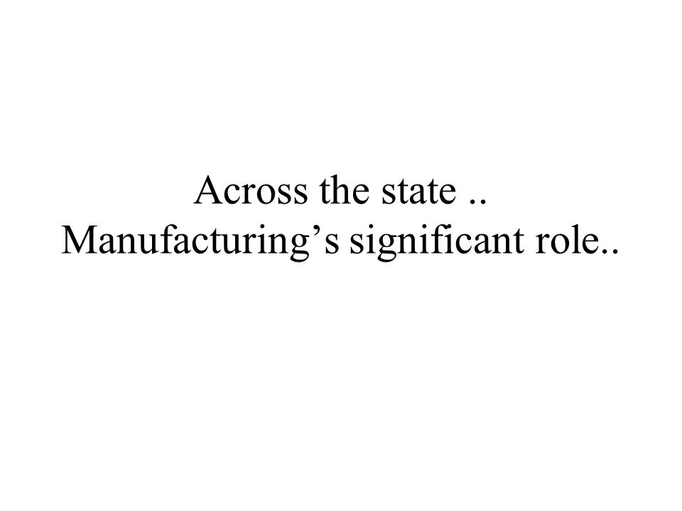 Across the state.. Manufacturing's significant role..