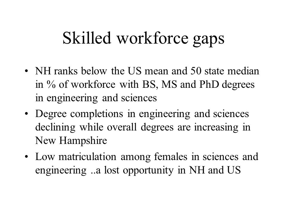 Skilled workforce gaps NH ranks below the US mean and 50 state median in % of workforce with BS, MS and PhD degrees in engineering and sciences Degree completions in engineering and sciences declining while overall degrees are increasing in New Hampshire Low matriculation among females in sciences and engineering..a lost opportunity in NH and US