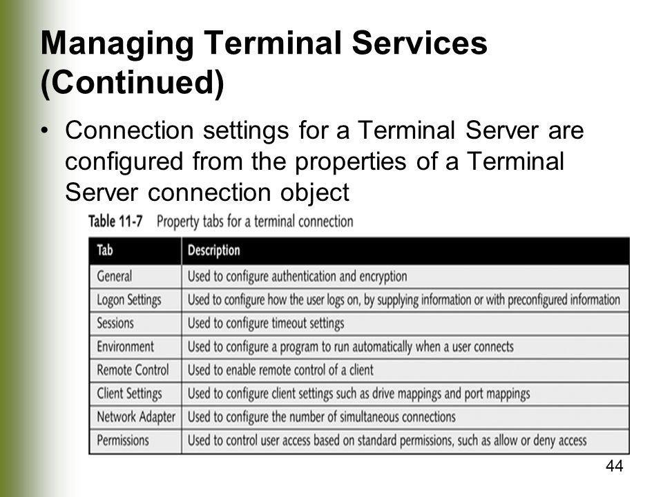 44 Managing Terminal Services (Continued) Connection settings for a Terminal Server are configured from the properties of a Terminal Server connection object
