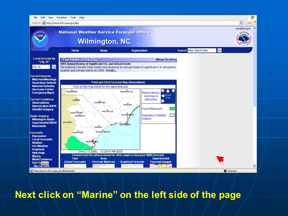 Next click on Marine on the left side of the page