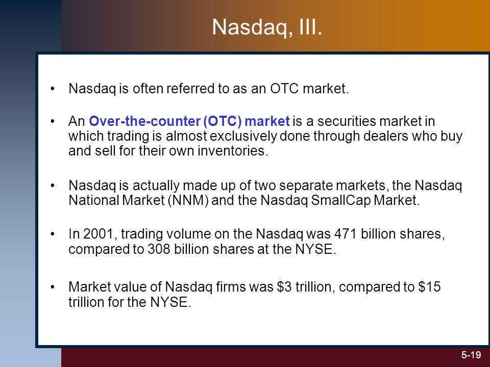 5-19 Nasdaq, III. Nasdaq is often referred to as an OTC market.