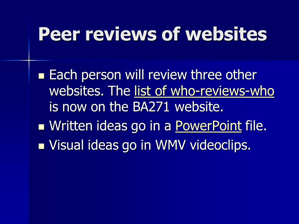 Peer reviews of websites Each person will review three other websites.