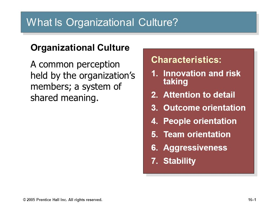 © 2005 Prentice Hall Inc. All rights reserved.16–1 What Is Organizational Culture.
