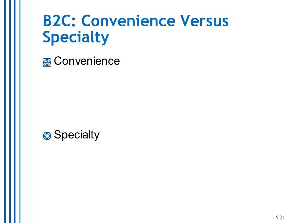 B2C: Convenience Versus Specialty  Convenience  Specialty 5-24