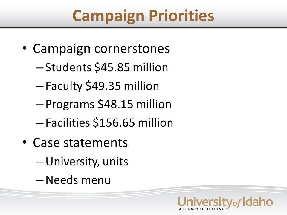 Campaign Priorities Campaign cornerstones – Students $45.85 million – Faculty $49.35 million – Programs $48.15 million – Facilities $ million Case statements – University, units – Needs menu