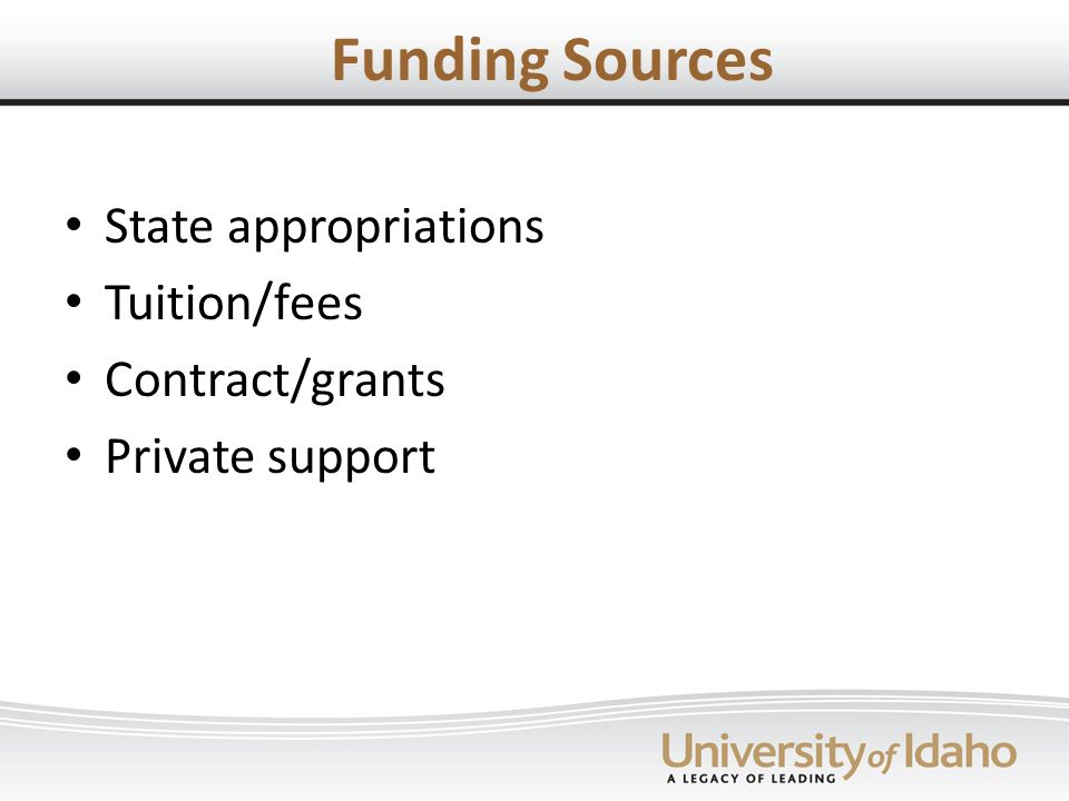 Funding Sources State appropriations Tuition/fees Contract/grants Private support