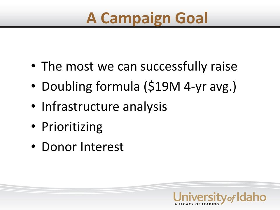 A Campaign Goal The most we can successfully raise Doubling formula ($19M 4-yr avg.) Infrastructure analysis Prioritizing Donor Interest