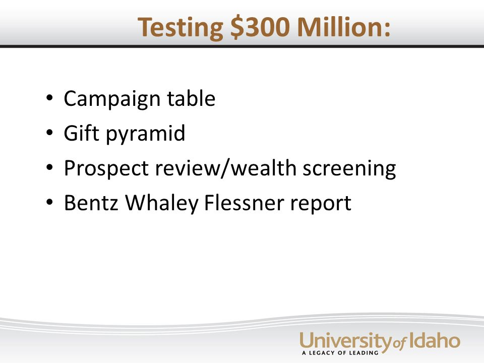 Testing $300 Million: Campaign table Gift pyramid Prospect review/wealth screening Bentz Whaley Flessner report