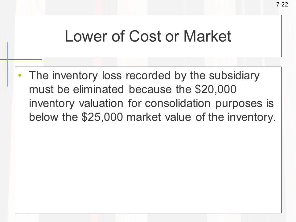 7-22 Lower of Cost or Market The inventory loss recorded by the subsidiary must be eliminated because the $20,000 inventory valuation for consolidation purposes is below the $25,000 market value of the inventory.