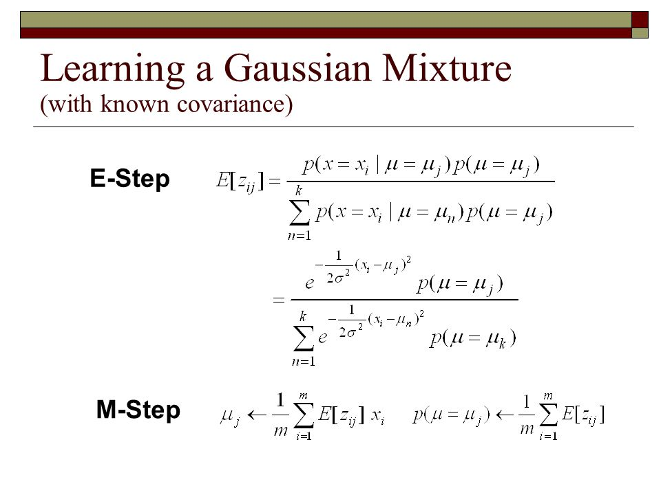 Learning a Gaussian Mixture (with known covariance)  Probability  Log-likelihood of unlabeled data  Find optimal parameters