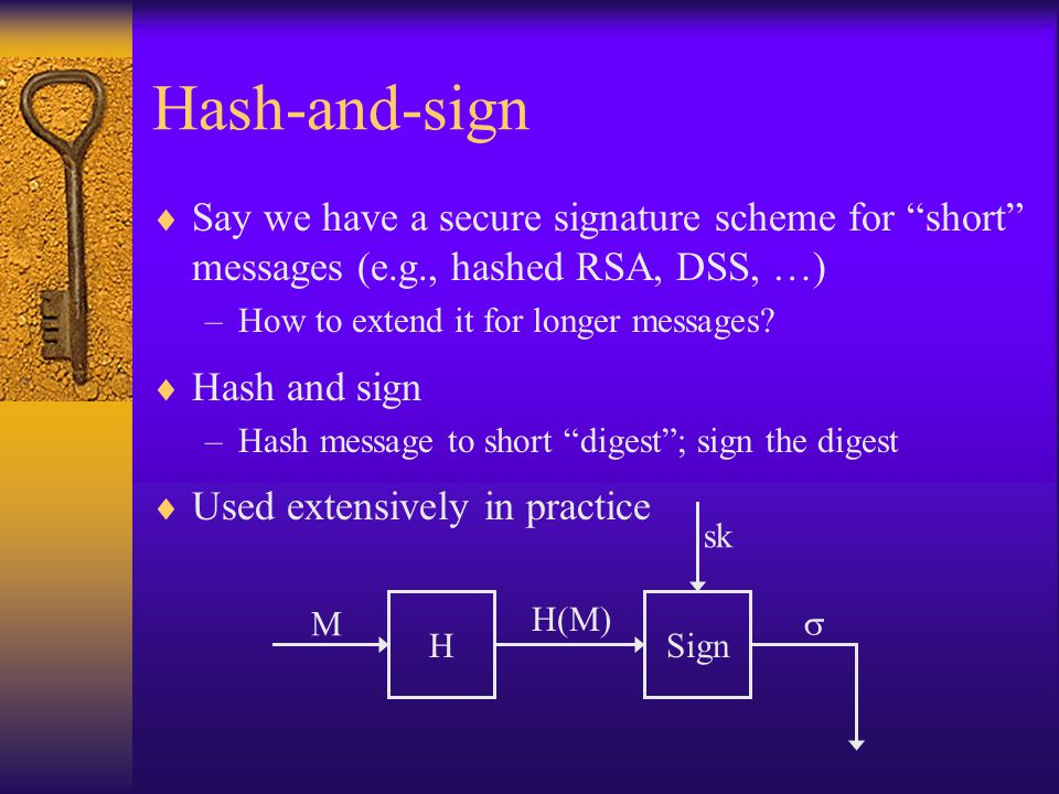 Hash-and-sign  Say we have a secure signature scheme for short messages (e.g., hashed RSA, DSS, …) –How to extend it for longer messages.